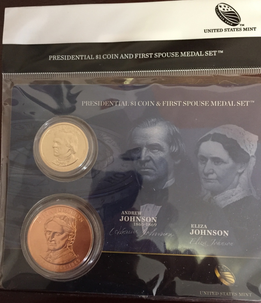 2011 Andrew Johnson Presidential Dollar and First Spouse Eliza Medal Set